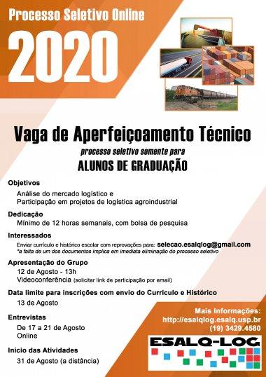ESALQ-LOG abre vagas de aperfeiçoamento técnico para segundo semestre de 2020