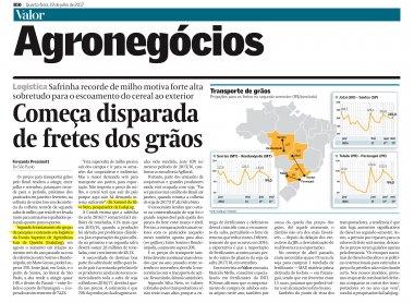 Projeção do ESALQ-LOG para o mercado de fretes de grãos é destaque na imprensa nacional